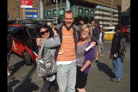 Unit publicist Dezi Rorich, writer/director Mukunda Michael Dewil, and Screen's Wendy Mitchell.